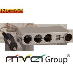 Разветвитель прикуривателя на 4 гнезда (Intego C-06) (серебристый)