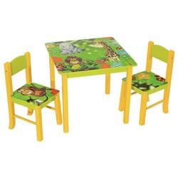 Набор детский стол + 2 стула Бюрократ KidSet-01, Jungle столешница:зеленый МДФ 59.5х59,5х53,3, 28х30х30, 57см