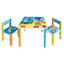 Набор детский стол + 2 стула Бюрократ KidSet-01, Ocean столешница:синий МДФ 59.5х59,5х53,3, 28х30х30, 57см