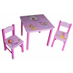Набор детский стол + 2 стула Бюрократ KidSet-01, Princ столешница:розовый МДФ 59.5х59,5х53,3, 28х30х30, 57см