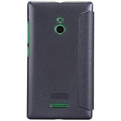 чехол-книжка для nokia xl (nillkin sparkle leather case) (черный)
