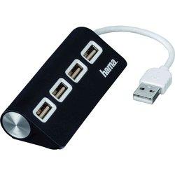 Разветвитель USB 2.0 на 4 порта (Hama Hub-12177) (черный)
