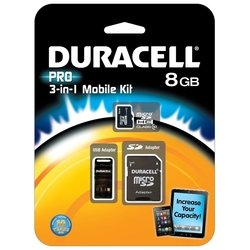 duracell pro microsdhc class 10 8gb + sd adapter & usb card reader