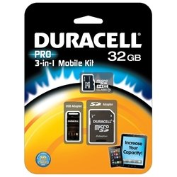duracell pro microsdhc class 10 32gb + sd adapter & usb card reader