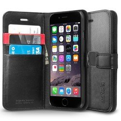 чехол-книжка для apple iphone 6 4.7 spigen wallet s (sgp10972) (черный)