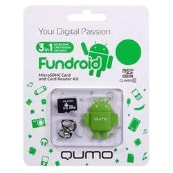 Qumo microSDHC class 10 4GB + Fundroid USB Card Reader