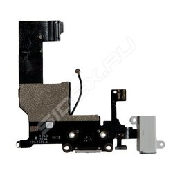 Шлейф для Apple iPhone 5C (разъём зарядки, разъём гарнитуры, микрофон, антенна) (R0006141) (чёрный)