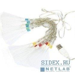 """Оборудование USB ORIENT NY1415 Светодиодные гирлянда """"Волшебные кисточки"""",  длина 2 м,  14 ламп,  многоцветное свечение,  питание от USB"""