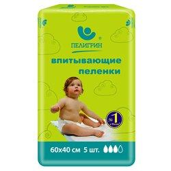 Пеленки впитывающие с экстрактом Алоэ 40*60 см (ПЕЛИГРИН 551) (5шт)