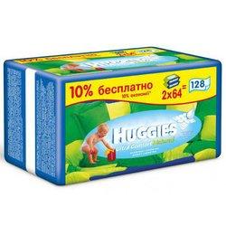 Детские влажные салфетки (HUGGIES Ultra Comfort+ALOE+Витамин Е 2398692) (сменный блок 2*64 шт)