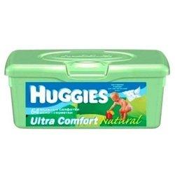 Детские влажные салфетки в контейнере (HUGGIES Ultra Comfort Natural 9440015) (64шт)