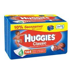 Детские влажные салфетки (HUGGIES Classic 9440005) (2х72шт)