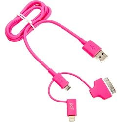 дата-кабель lightning/microusb/30 pin - usb для apple iphone 2, 3g, 3gs, 4, 4s, iphone 5, 5c, 5s, 6, 6 plus, ipad 4, air, air 2, mini 1, mini 2, mini 3  pqi i-cable multi-plug (розовый)