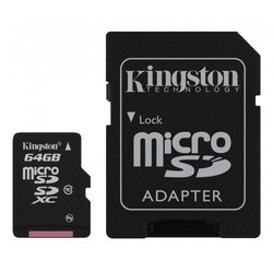 флеш карта microsdxc 64gb class10 kingston sdcx10, 64gb megafon