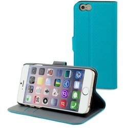 чехол-книжка для apple iphone 6 plus (muvit wallet folio stand case musns0075) (голубой)