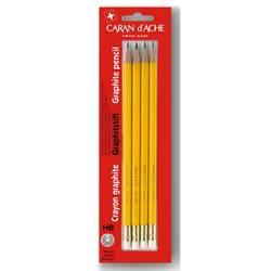 Набор Carandache 351.372 карандашей чернографитовых с ластиком желтый НВ  (4шт)