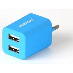 Универсальное сетевое зарядное устройство, адаптер 2хUSB, 2А (SmartBuy TRAVELER SBP-3100) (синий)