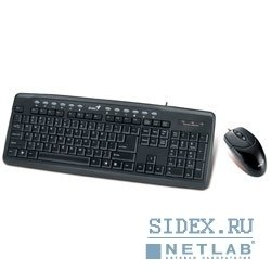 клавиатура keyboard genius km-220 - клавиатура: usb,  12 горячих клавиш и мышь usb,  1200 dpi,  black color,  color box