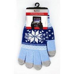 Перчатки для сенсорных экранов (5 пальцев, размер S) (0L-00000024) (Снежинка, голубые)