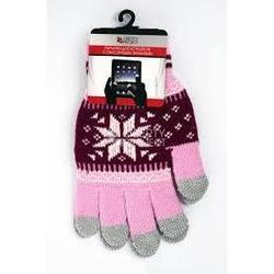 Перчатки для сенсорных экранов (5 пальцев, размер S) (0L-00000028) (Снежинка, розовые)