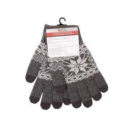 Перчатки для сенсорных экранов (5 пальцев, размер M) (0L-00000029) (Снежинка, серые)