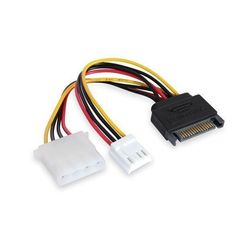 Кабель Molex 4pin - SATA 15pin + Molex FDD 4pin (Greenconnect GC-ST214)