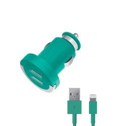 Автомобильное зарядное устройство Lightning - USB для Apple iPhone 5, 5C, 5S, 6, 6 plus, iPad 4, Air, Air 2, mini 1, mini 2, mini 3 (Deppa Ultra duo MFI 11259) (бирюзовый)