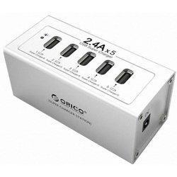 Универсальное сетевое зарядное устройство 5xUSB ORICO DUB-5P-SV (серебристый)