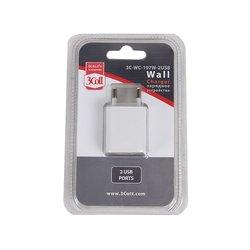 Сетевое зарядное устройство 2USB 3Cott 3C-WC-197W-2USB (белый)