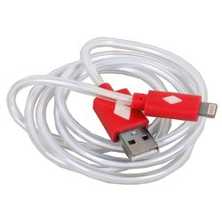 Дата-кабель Lightning - USB MFI для Apple iPhone 5, 5C, 5S, 6, 6 plus, iPad 4, Air, Air 2, mini 1, mini 2, mini 3 (3Cott 3C-CLDC-065BR-IP5) (красный)