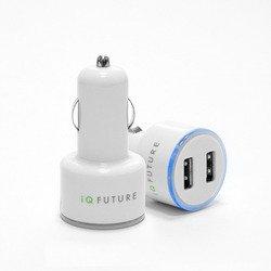 Универсальное автомобильное зарядное устройство на 2USB-порта (IQFUTURE IQ-DCC01/W) (белый)
