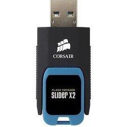 Corsair Voyager Slider X2 64Gb USB3.0 (CMFSL3X2-64GB) (черный, голубой)