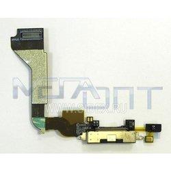 Шлейф для Apple iPhone 4 с коннектором зарядки (10046) (черный)
