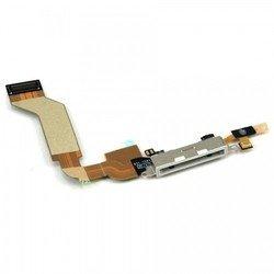 Шлейф для Apple iPhone 4S с коннектором зарядки (13804) (белый)