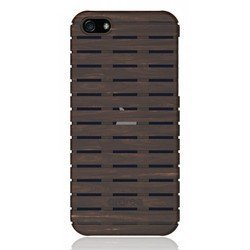 чехол-накладка для apple iphone 5, 5s, se (araree woody ebony)