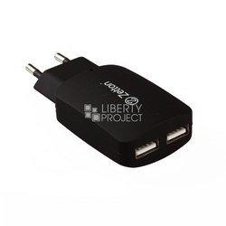 Универсальное сетевое зарядное устройство, адаптер 2хUSB, 2.1А (Zetton ZTTC2A2U) (черный)