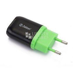 Сетевое зарядное устройство USB (ZTLSTC1A1UBG) (черный, зеленый)