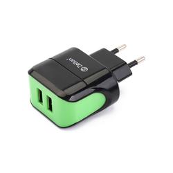 Сетевое зарядное устройство 2xUSB (ZTLSTC2A2UBG) (черный, зеленый)