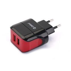 Сетевое зарядное устройство 2xUSB (ZTLSTC2A2UBR) (черный, красный)