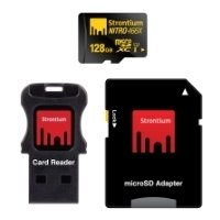 strontium nitro microsdxc class 10 uhs-i u1 466x 128gb + sd adapter & usb card reader