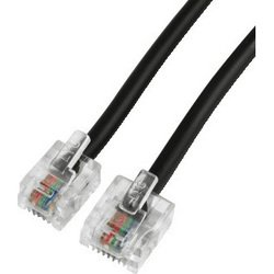 Телефонный кабель 6p4c-8p4c (m-m) (Hama H-40607) (черный)