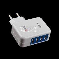 Сетевое зарядное устройство 4xUSB (0L-00000647) (белый)