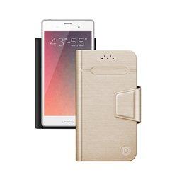 """Универсальный чехол-книжка для смартфонов 4.3""""-5.5"""" (Deppa Wallet Fold M 87007) (золотистый)"""