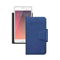 """Универсальный чехол-книжка для смартфонов 4.3""""-5.5"""" (Deppa Wallet Fold M 87009) (синий)"""