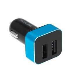 Автомобильное зарядное устройство 2xUSB (Neoline Volter D2) (черный, голубой)