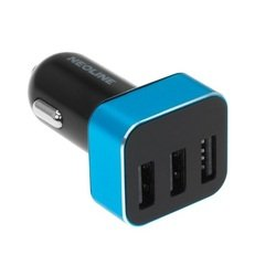 Универсальное автомобильное зарядное устройство, адаптер 3хUSB, 3.1A (Neoline Volter D3) (черный, голубой)