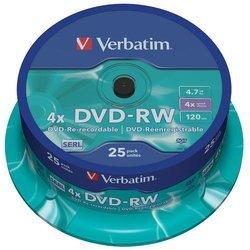 DVD-RW ����� 4.7Gb Verbatim 4x 25 �� Cake Box (43639)