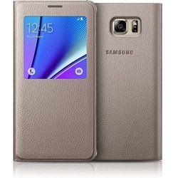 чехол-книжка для samsung galaxy note 5 (s view cover ef-cn920pfegru) (золотистый)