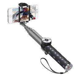 Монопод, палка для селфи с Bluetooth кнопкой для мобильных телефонов (Deppa 45006) (графит)