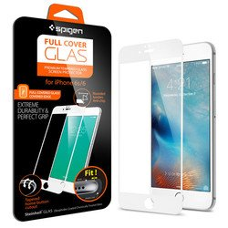 защитное стекло для apple iphone 6s (spigen screen protector full cover glass sgp11590) (белый)